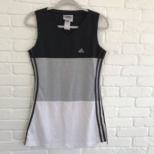 Adidas Athletic Tank Top Striped Gray Small